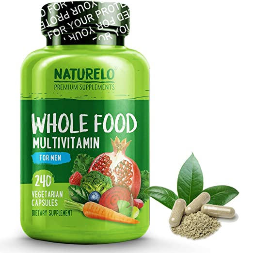 NATURELO Whole Food Multivitamin for Men - Natural Vitamins, Minerals, Antioxidants, Organic Extracts - Vegan / Vegetarian - Best for Energy, Brain, Heart, Eye Health - 240 Capsules