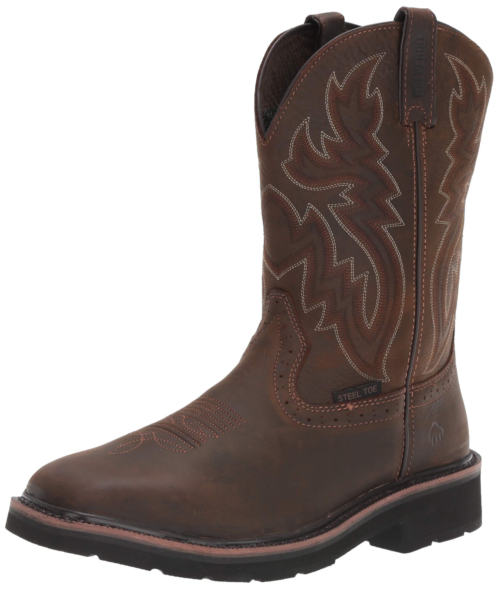 Wolverine Men's Rancher 10'' Square Steel Toe Work Boot, Dark Brown/Rust, 9 M US by Wolverine