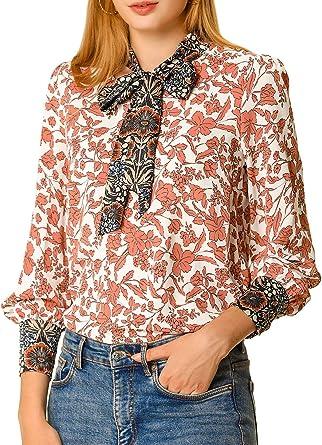 Allegra K Blusa Estampado Floral Boho con Lazo Camisa Cuello En V para Mujer: Amazon.es: Ropa y accesorios