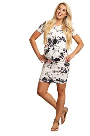 e3ed8e70e845c PinkBlush Maternity White Floral Fitted Maternity Dress, Medium at Amazon  Women's Clothing store: