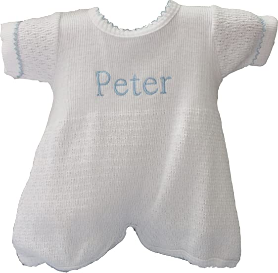 Amazon.com: Paty Inc Infant Boys Onesie White & Blue Knitted Layette ...