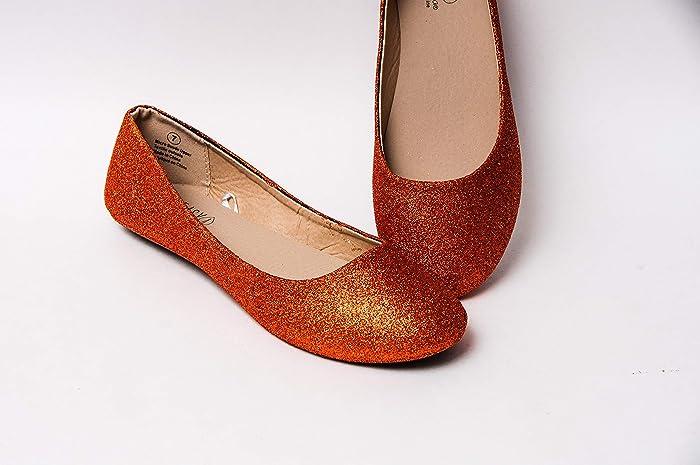 2106f0d1e802 Amazon.com: Women's Hand Glittered Sedona Orange Glitter Ballet ...