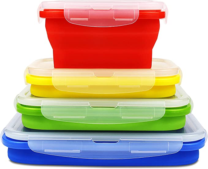 Ryfan Collapsible Folding Silicone Food Storage Container with Lid, Set of 4 Silicone Airtight Lunch Box, Outdoor Portable Kitchen Microwave, Dishwasher and Freezer Safe Household Picnic Bento Box