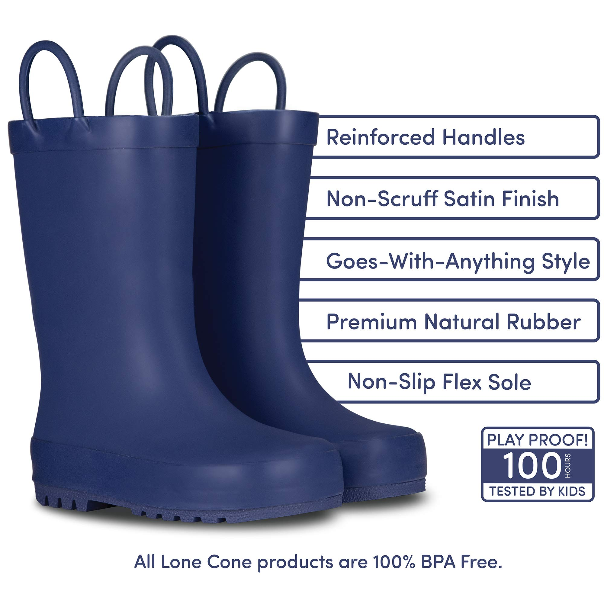 LONECONE Elementary Collection - Matte Rain Boots with Easy-On Handles for Toddlers and Kids, Ribbon Blue, Big Kid 4 by LONECONE (Image #2)