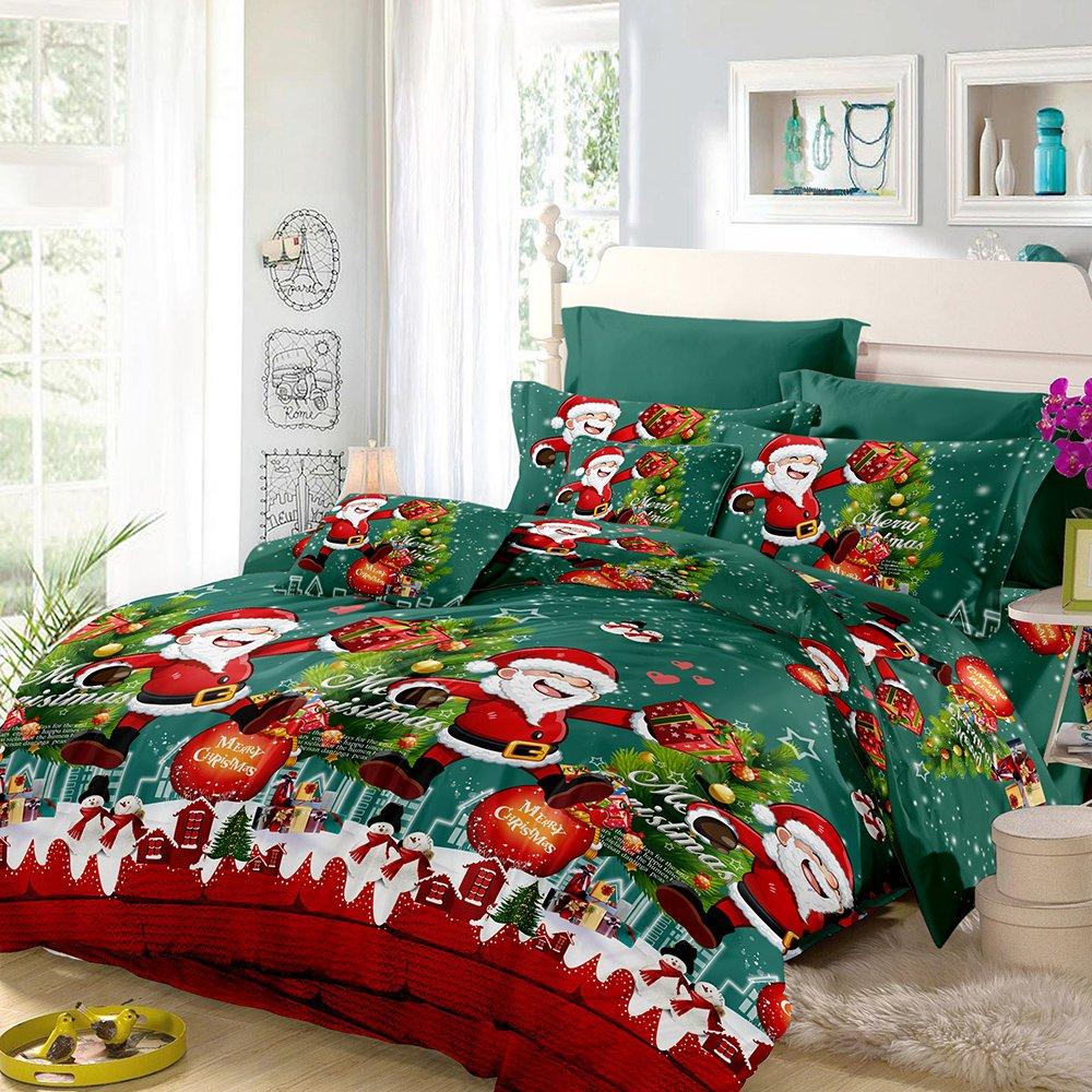 Bed Sheet BGH19719D-2USHMAF Anself 3D Printed Christmas Bedding Sets Duvet Cover 2pcs Pillowcases