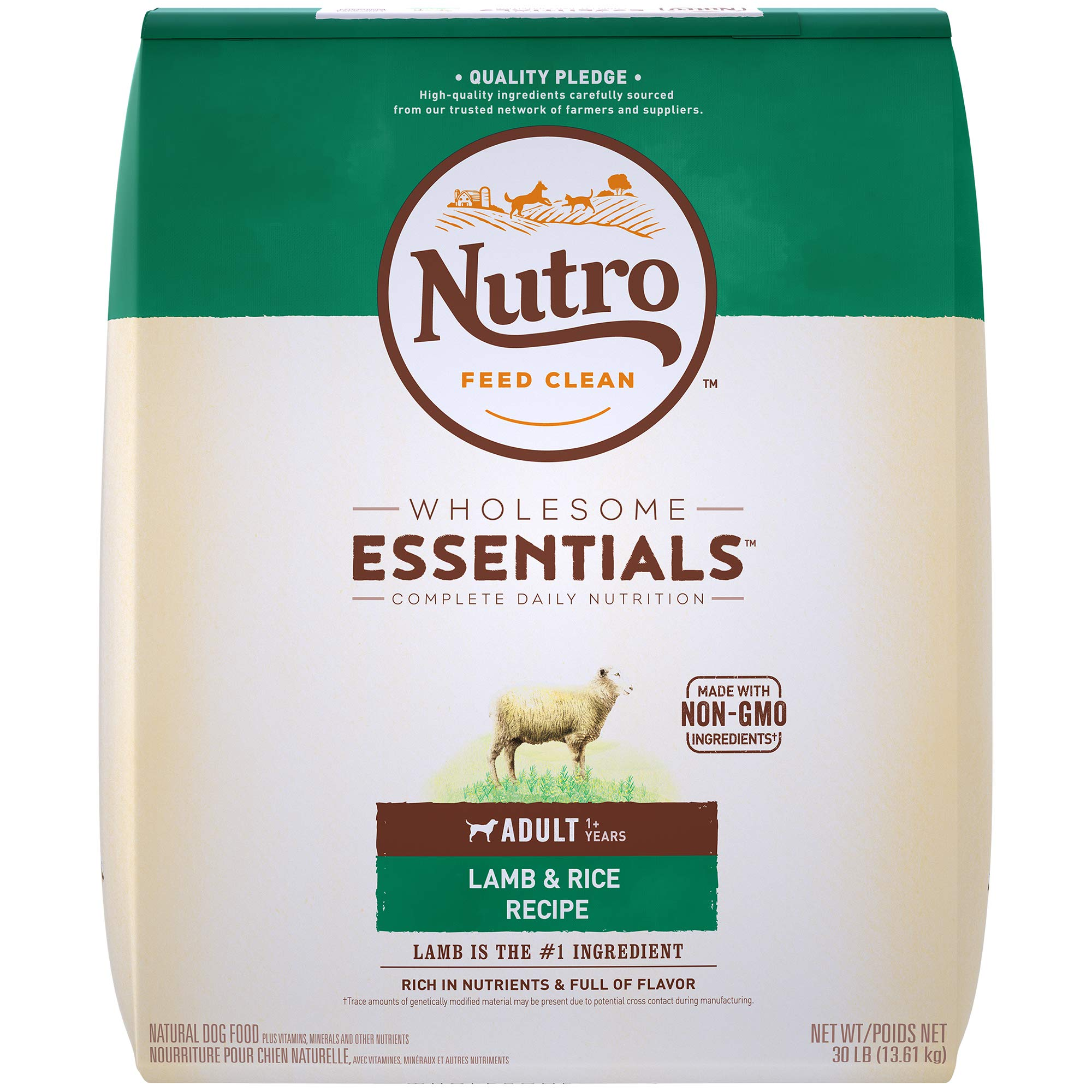 NUTRO WHOLESOME ESSENTIALS Natural Adult Dry Dog Food Pasture-Fed Lamb & Rice Recipe, 30 lb. Bag by Nutro