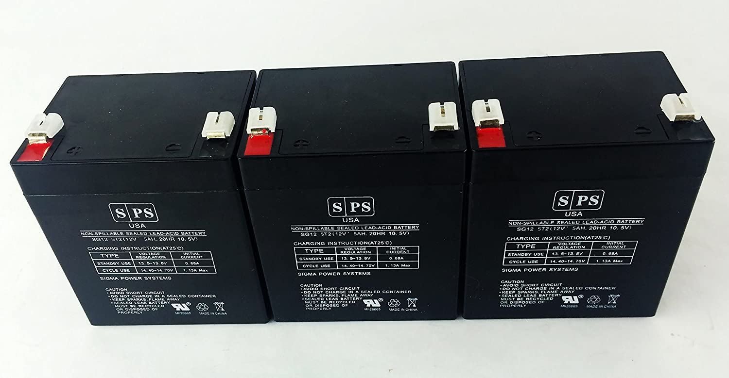 12v 5Ah GE 60-681 Alarm Replacement Battery SPS BRAND (3 PACK)