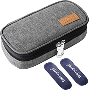Insulin Cooler Travel case, Organizer Medical case with ice Pack - Kits Medical Cooler Epipen Portable and Reusable Grey (2 Insulin Pen)
