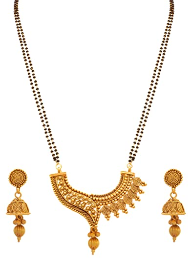 Jfl - Jewellery For Less Traditional Ethnic One Gram Gold Plated Spiral Mangalsutra Jewellery Set With  sc 1 st  Amazon.in & Jfl - Jewellery For Less Traditional Ethnic One Gram Gold Plated ...