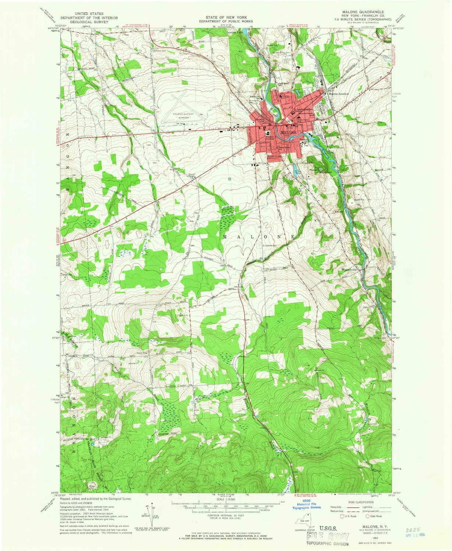 Amazon.com : YellowMaps Malone NY topo map, 1:24000 Scale, 7.5 X 7.5 ...