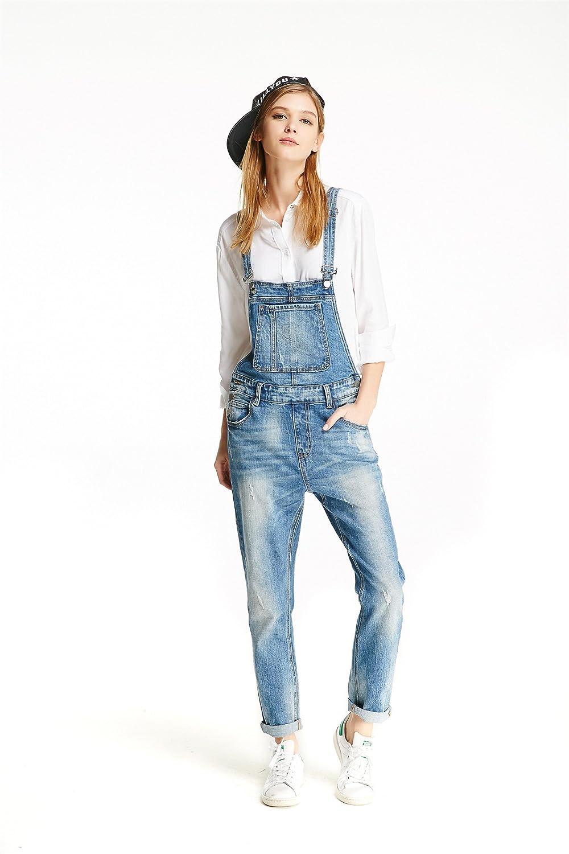 Track Seven Women's Basic Loose Straight Leg Denim Overalls Jeans Light Blue
