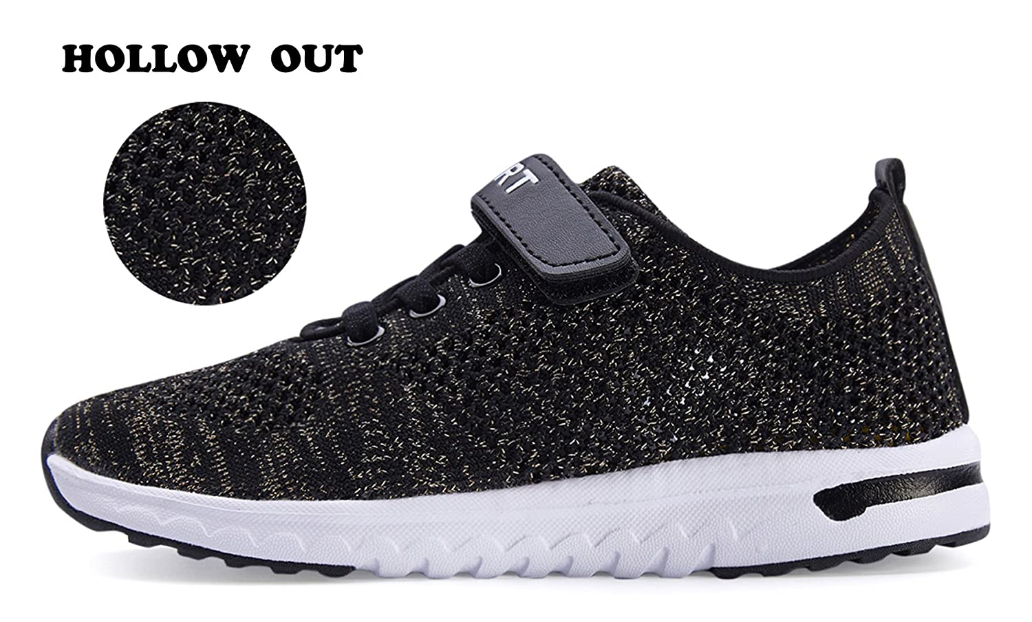 KARIDO Kids Breathable Knit Sneakers Lightweight Athletic Running Shoes EU 32,G-Black