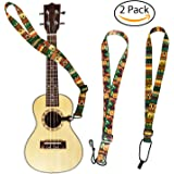 2 Pack Ukulele Strap Adjustable Neck Strap - Hawaiian Style Shoulder Strap for Soprano, Concert and Tenor.