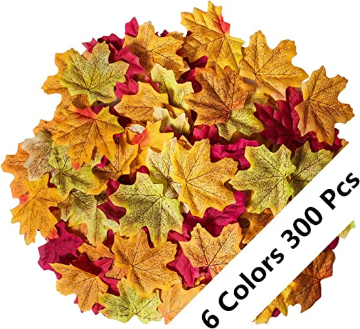 Luxbon 100pcs Artificial Autumn Fall Maple Leaves Multi Colors Great Autumn Table Scatters for Fall Weddings /& Autumn Parties SHIYU