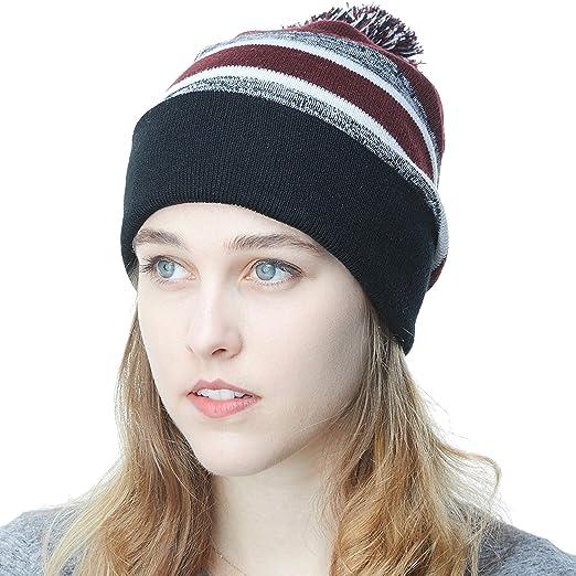 29c6b666d1241 The Hat Depot Winter Soft Unisex Cuff Pom Pom Stripe Knit Beanie Skull  Slouch Hat