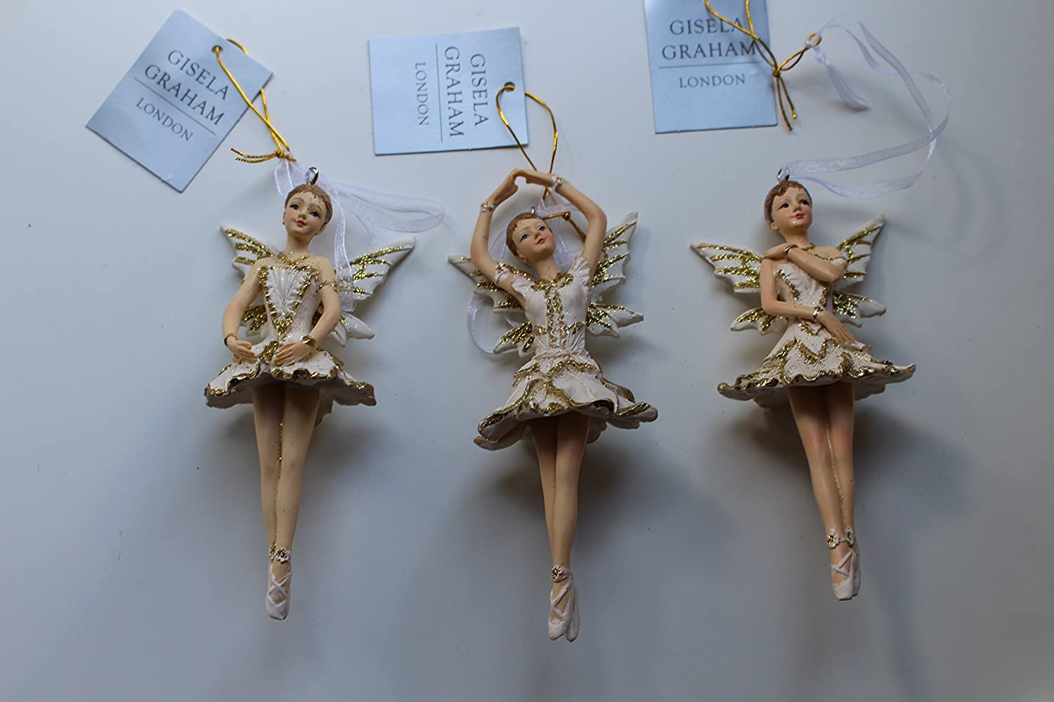Gisela Graham Set of 3 Cream and Gold Resin Ballerina Fairies Hanging Tree Decorations