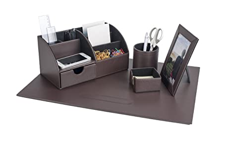 Pavo 8006144 \u2013 Set di eleganti accessori da scrivania in pelle PU con  sottomano, scatola