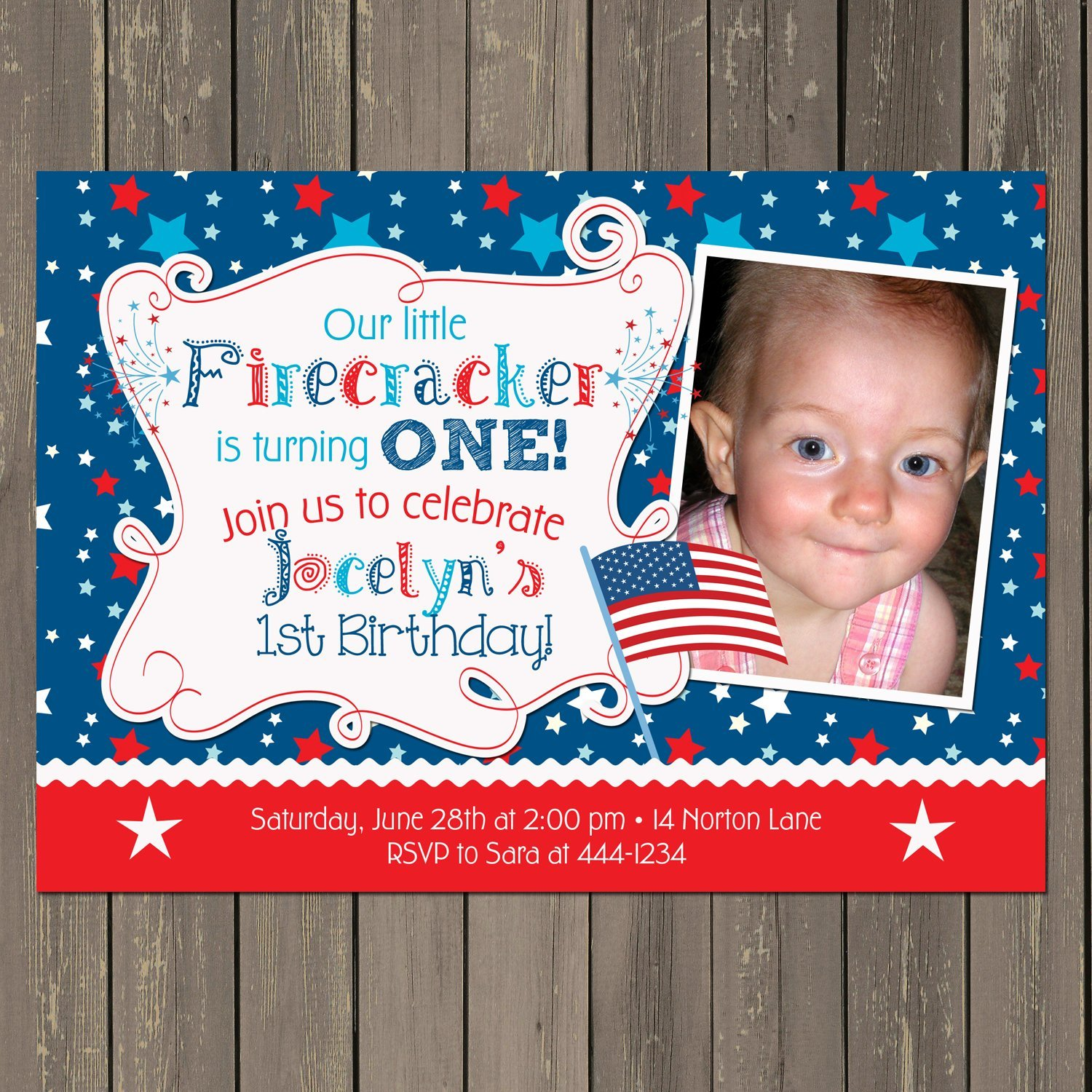 Amazon July 4th Red White And Blue Little Firecracker Birthday Party Invitation Handmade