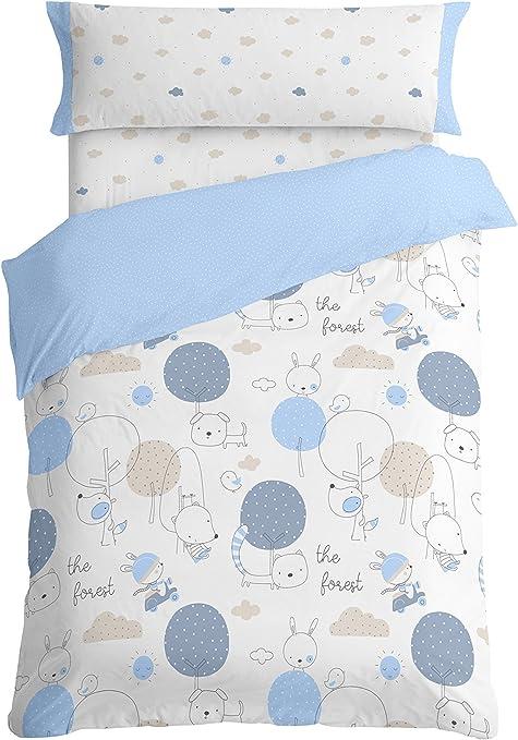 Burrito Blanco Juego de Funda Nórdica Infantil 005 Algodón 100% para Cama de 90 x 190 cm hasta 90 x 200 cm Diseño de Animales, Azul: Amazon.es: Hogar