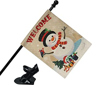 COCOHOME Merry Christmas Flag with 4FT Metal Pole, 28 x 45 Inch Double-Sided Snowman Welcome Winter Outdoor Flag Banner for Xmas Garden Yard Decorations