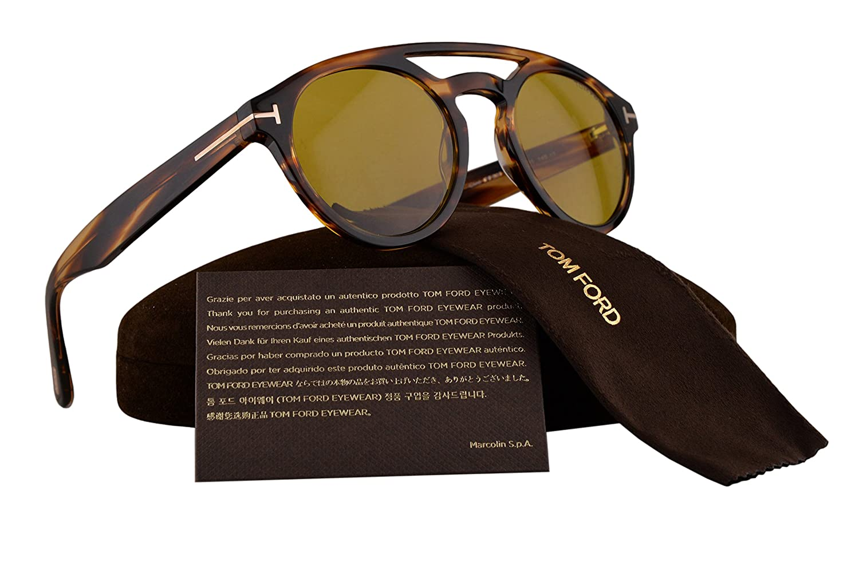 841118006f Tom Ford FT0537 Clint Sunglasses Havana w Yellow Lens 48E TF537  Amazon.ca   Clothing   Accessories
