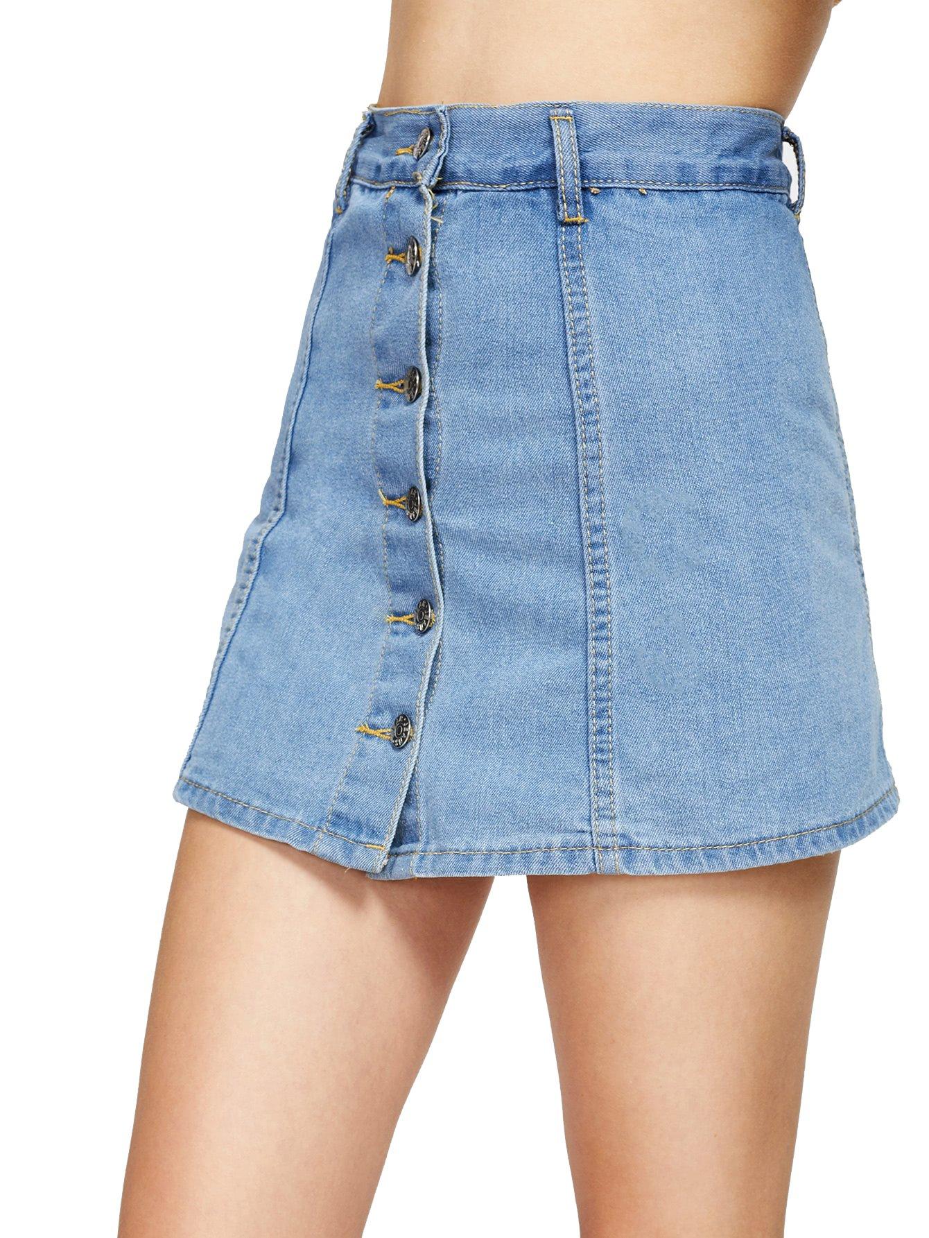 Verdusa Women's Casual Distressed Ripped A-Line Denim Short Skirt Light Blue M