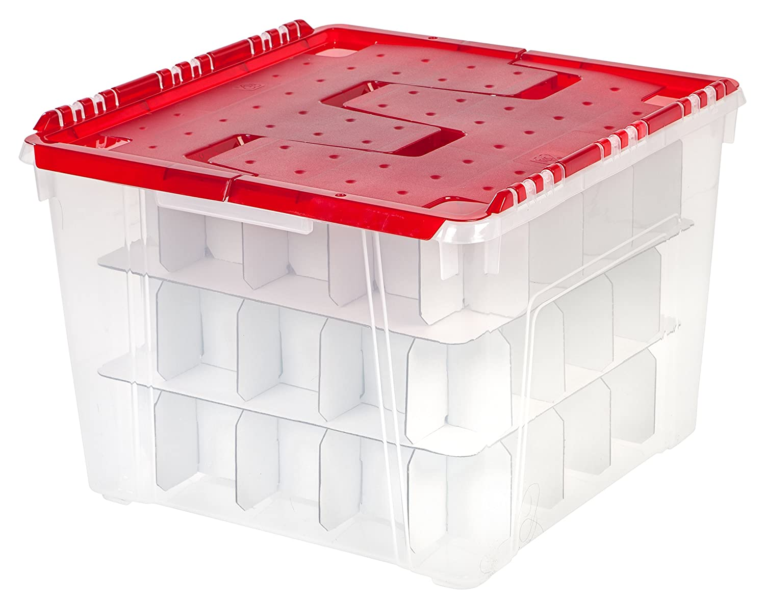 Amazon.com: IRIS Wing Lid Storage Box with Ornament Divider, Red ...