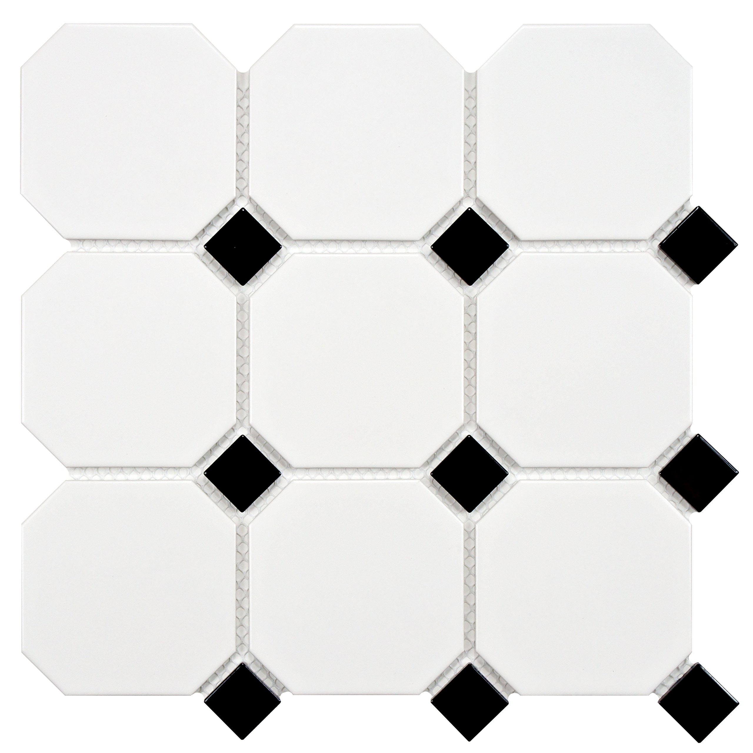 SomerTile FXLM4OWD Retro Super Octagon Porcelain Mosaic Floor and Wall Tile, 11.625'' x 11.625'', Matte White with Dot