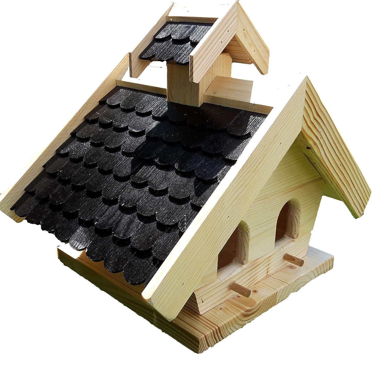 Naturholz-Schreinermeister Vogelhaus XL Schwarz Vogelhäuser Vogelfutterhaus Vogelhäuschen aus Holz Wetterschutz Putzklappe