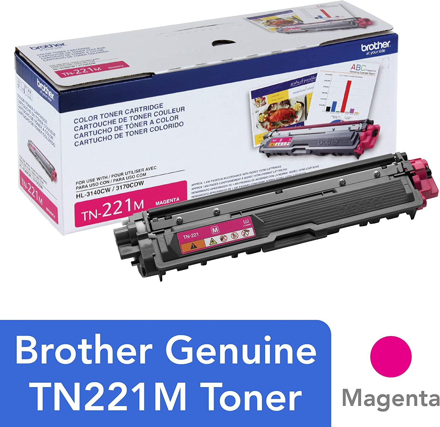 Brother TN-221M DCP-9015 9020 HL-3140 3150 3170 3180 MFC-9130 9140 9330 9340 Toner Cartridge (Magenta) in Retail Packaging