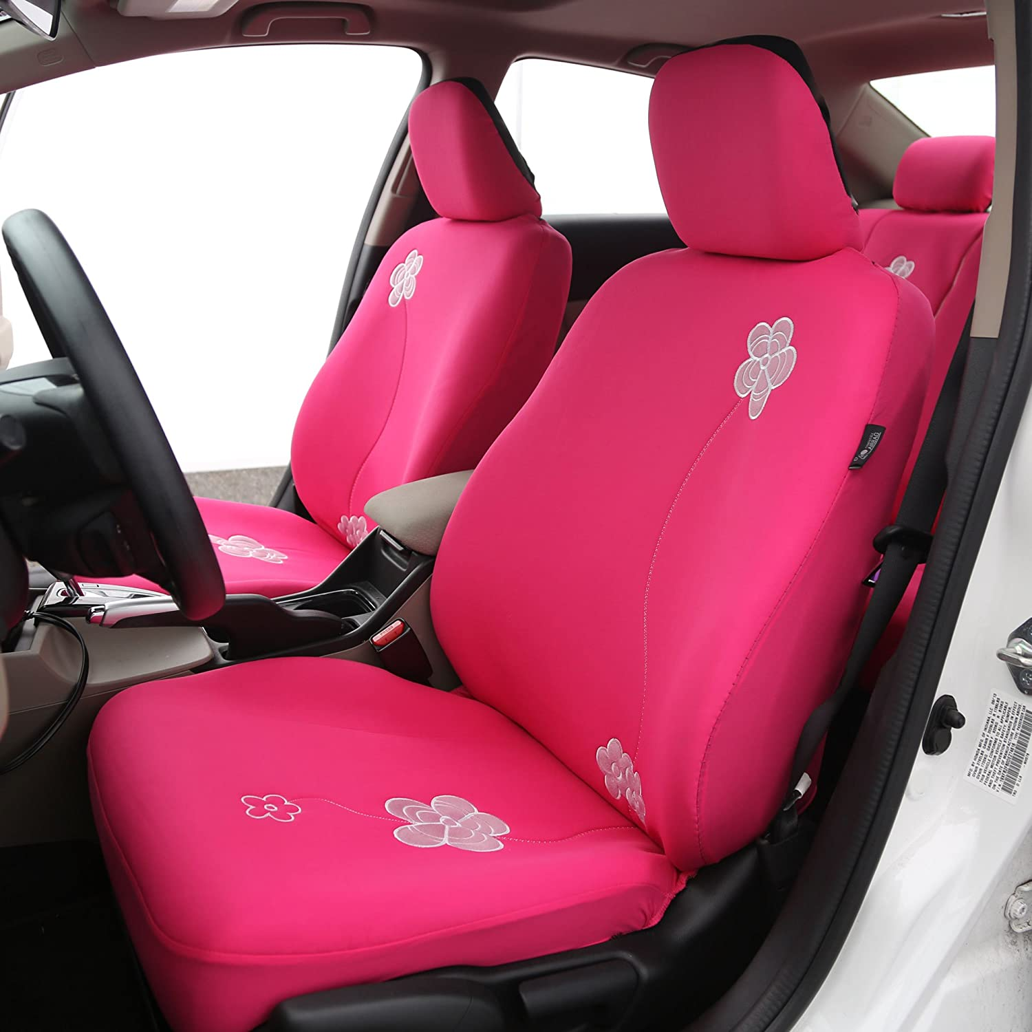 Pink FH Group Universal Fit Full Set Floral Embroidery Design Car Seat Cover, FH-FB053115, Airbag Compatible and Split Bench, Fit Most Car, Truck, SUV, or Van