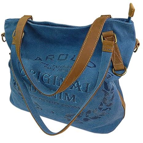 6f105cb0d2d53 ekavale Große Canvas Damen Handtasche Shopper Umhängetasche Schultertasche  Baumwollstoff Segelstoff Tasche (Blau)
