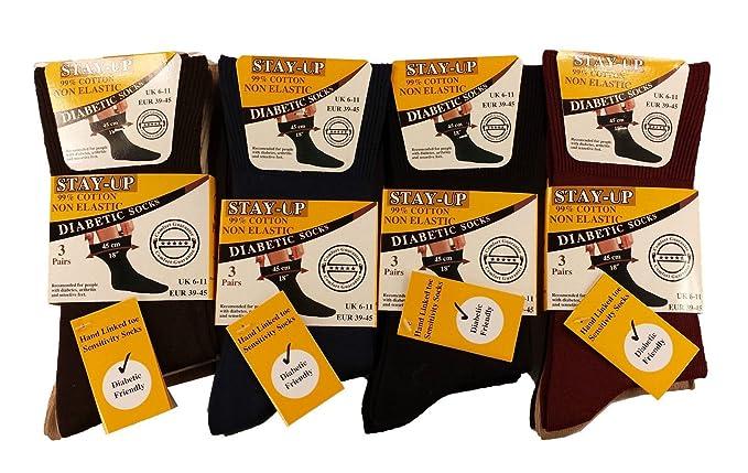 12 pares para hombre Plain Diabéticos sensetive mano ligado dedos no elástica calcetines de stay up multicolor mixto: Amazon.es: Ropa y accesorios