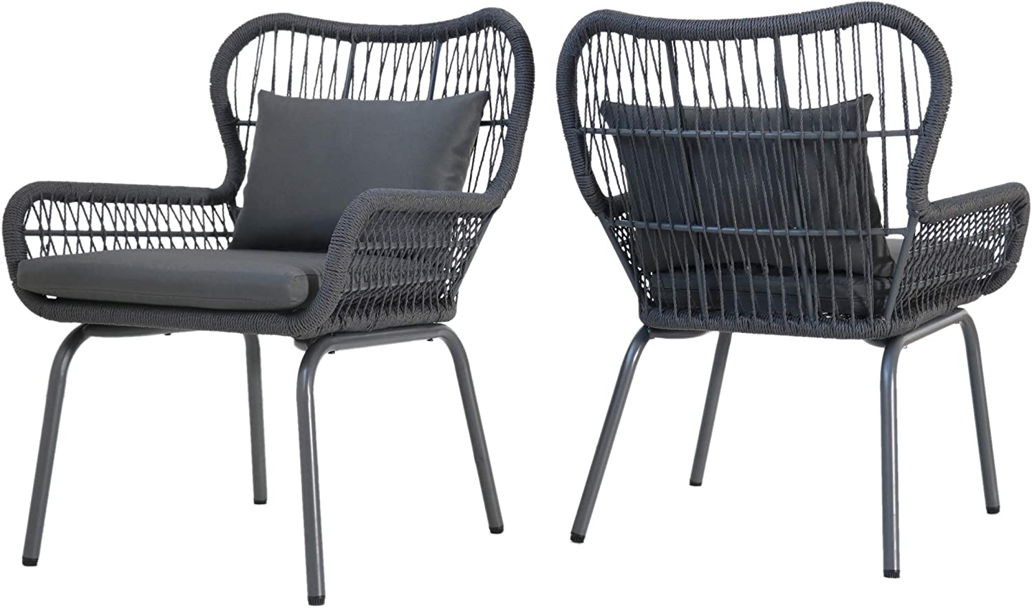 Great Deal Furniture Karen Outdoor Club Chairs, Steel and Rope, Water-Resistant Cushions, Boho, Dark Gray and Gray (Set of 2)