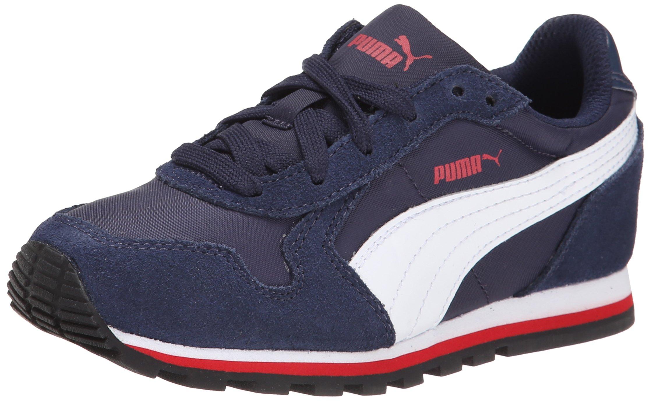 PUMA ST Runner NL JR Sneaker (Little Kid/Big Kid), Peacoat/White/High Risk Red, 6 M US Big Kid