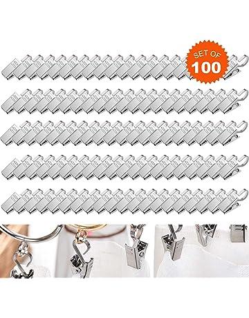 E EBETA 100 Packung Metall Clips Haken f/ür Gardinen /& Vorh/änge Vorhangringe mit Clip Duschvorhang Metallklammern Schwarz