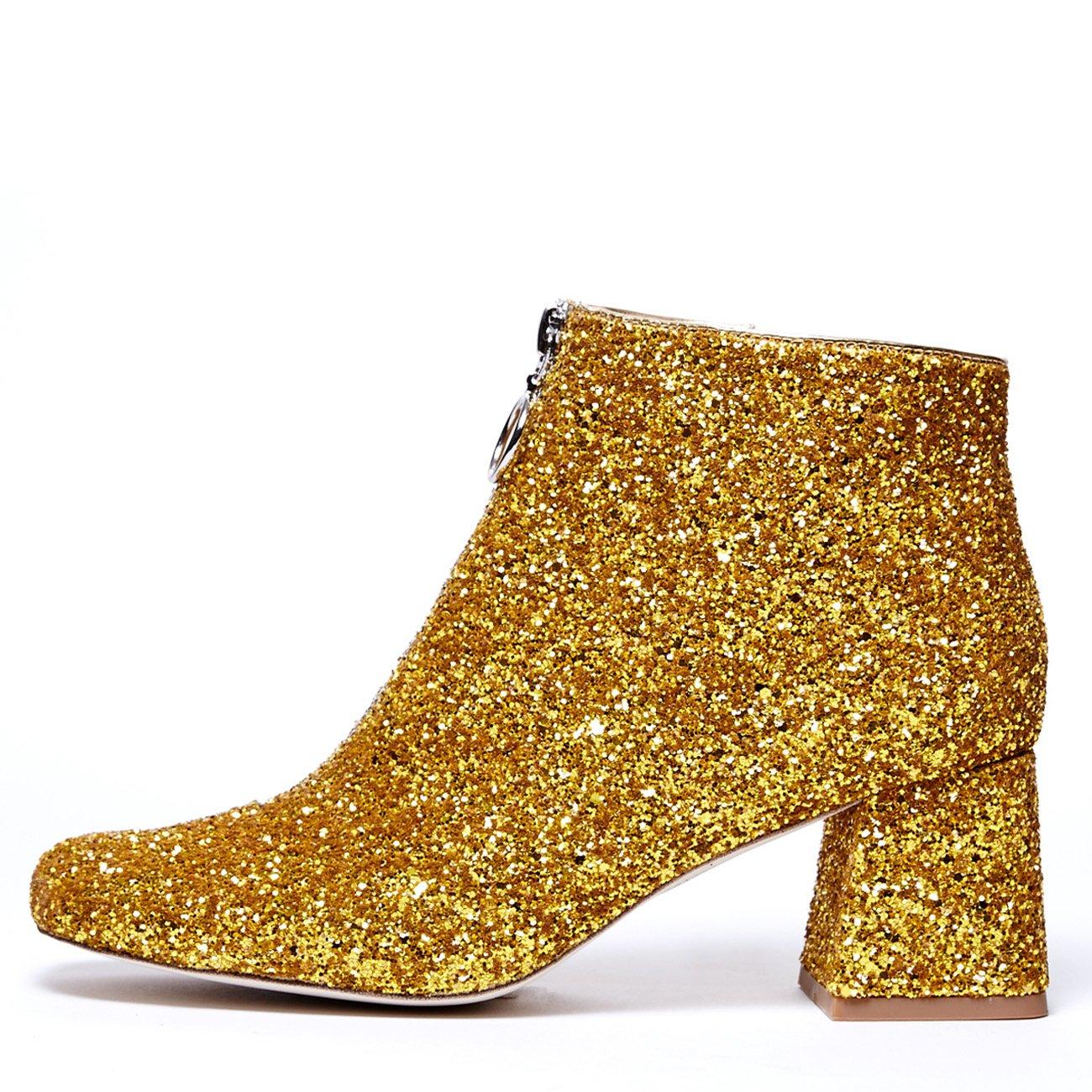 Jeffrey Campbell 'Bossanova' gold glitter boot,7 by Jeffrey Campbell