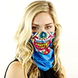 Sugar Mama Skull Face Mask by Hoo-rag Seamless UPF 30 High Performance Moisture Wicking Bandana Made of 100% Polyester Microfiber