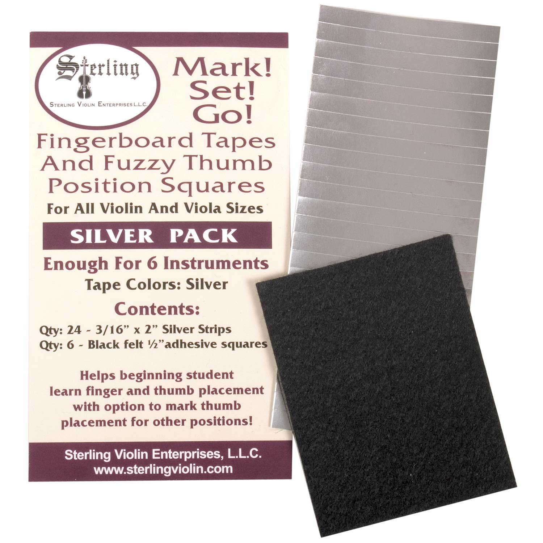 Mark! Set! Go! Instrument Fingerboard Tape: Silver Tape with Black Felt
