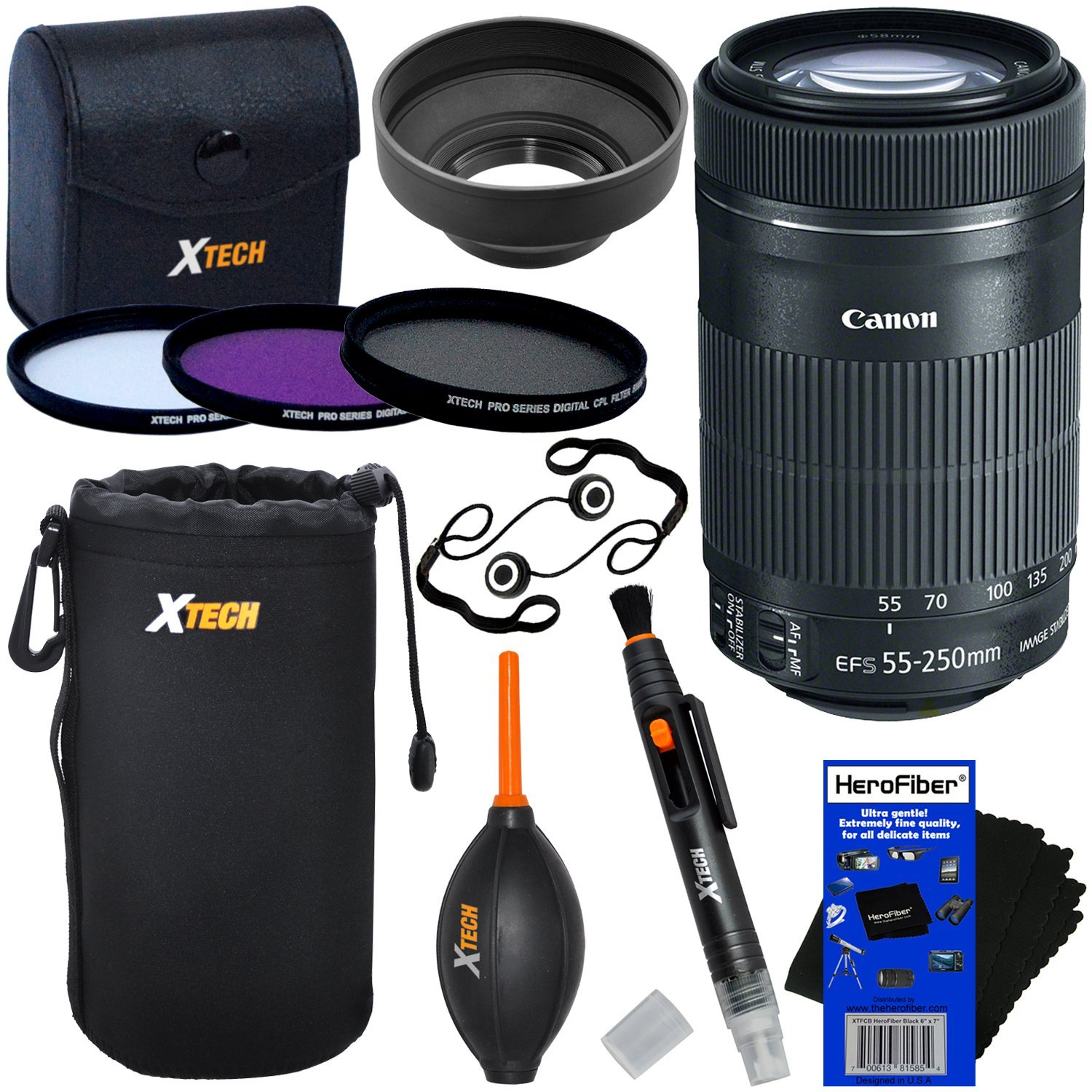 Canon EF-S 55-250mm F4-5.6 IS ''STM'' Lens for Canon SLR Cameras (International Version) + 3pc Filter Kit (UV,FL-D,CPL) + 8pc Bundle Accessory Kit w/ HeroFiber Cleaning Cloth
