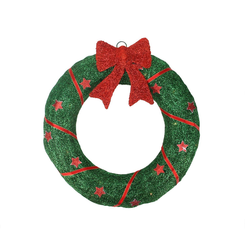 Northlight Lighted Sparkling Green Sisal Christmas Wreath Yard Art Decoration, 18'', Red