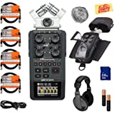 Zoom H6 Handy Recorder Bundle with Zoom PCH-6 Case, Headphones, WSU-1 Windscreen, SD Card, 4 XLR Cables, Aux Cable, AA Batteries, and Austin Bazaar Polishing Cloth