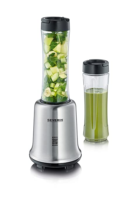 SEVERIN SM 3739 Batidora Smoothie Mix & Go, 300 W aproximadamente, 600 ml, incluso 2 Vasos con tapa, color acero inoxidable y negro