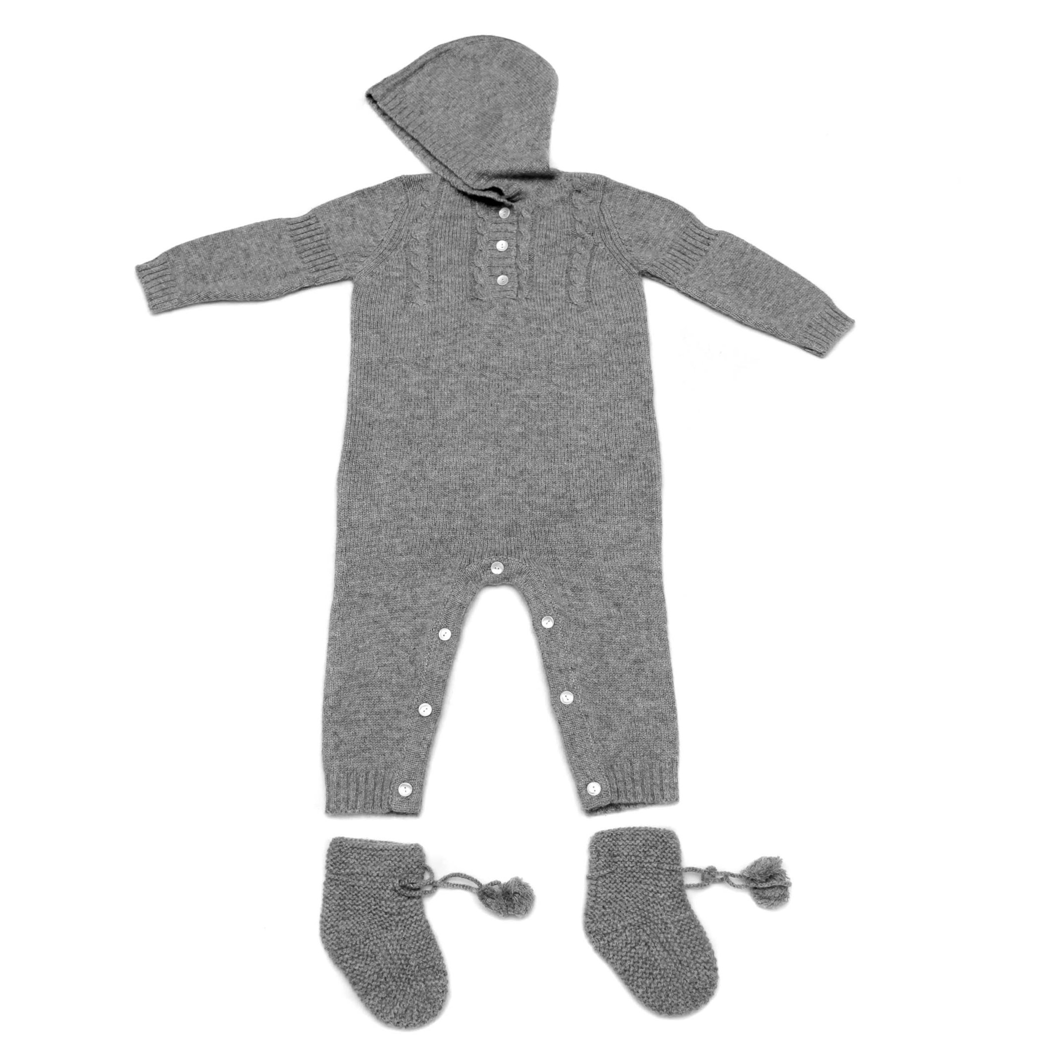 100% Cashmere Baby Bodysuit Set, Buttoned Bodysuit Cable-Knit Pattern, Hand-Knitted, 3 PLY 26/2 Mongolian Yarn © Moksha Cashmere by Moksha Cashmere