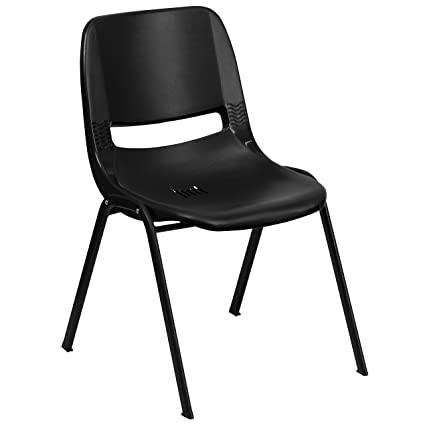 Beau Flash Furniture HERCULES Series 440 Lb. Capacity Black Ergonomic Shell  Stack Chair With Black Frame
