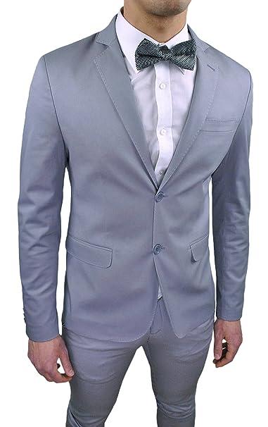 Abito Completo Uomo Sartoriale Grigio Slim Fit aderente nuovo elegante  cerimonia in cotone  Amazon.it  Abbigliamento 08eca948d31