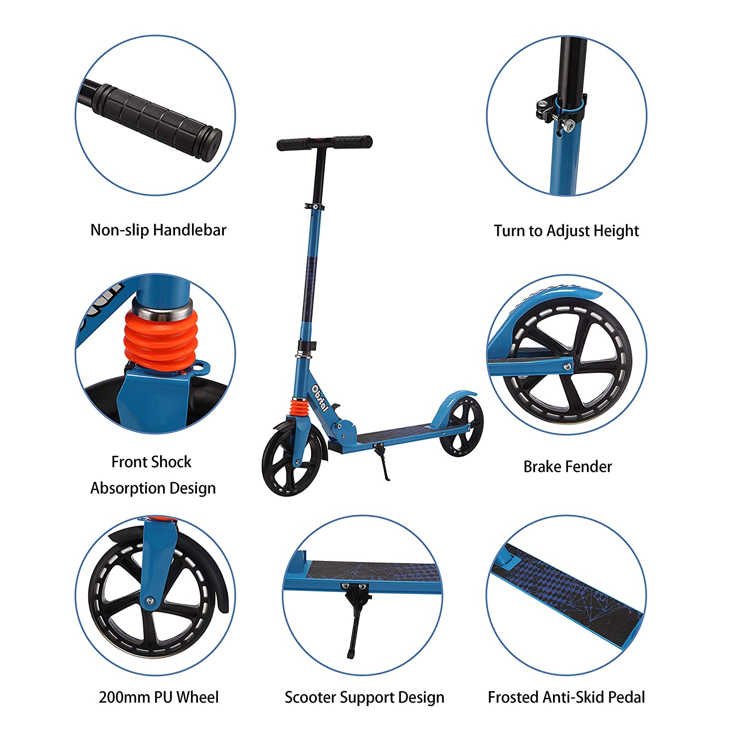Adjustable Height Folding T-bar with Flashing Wheels Obstal Kick Scooter for Kids Double /& Three Wheels