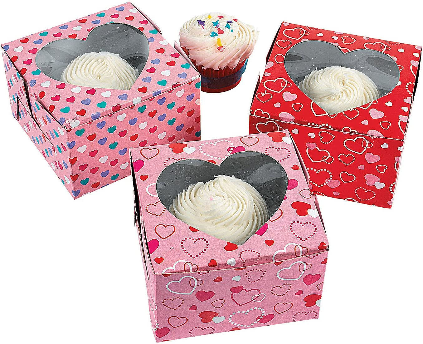 Valentine's Day Cupcake Boxes - Set of 12 Assorted Treat Box - Party Supplies