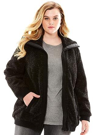 b267ac5155d Roamans Women s Plus Size Fleece Bomber Coat at Amazon Women s Coats ...