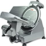 "KWS Premium Commercial 420w Electric Meat Slicer 12"" Non-sticky Teflon Blade, Frozen Meat/ Cheese/ Food Slicer Low Noises"